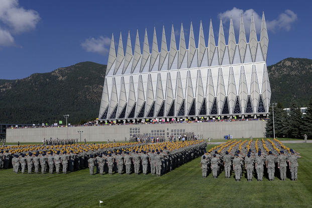 The U.S. Air Force Academy's Class of 2019 salutes during its first full day of military training which started with a swearing-in ceremony in Colorado Springs, Colo., June 26, 2015. (Air Force photo/Mike Kaplan)