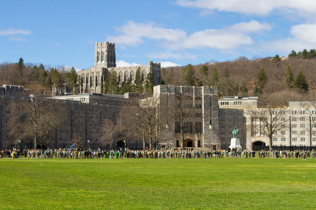 A crowd gathers at the United States Military Academy, West Point, NY, Washington Hall as cadets finish the 2017 Sandhurst Military Skills Competition on April 8, 2017. (U.S. Army Reserve photo/Spc. Jeremiah Woods, 358th Public Affairs Detachment)