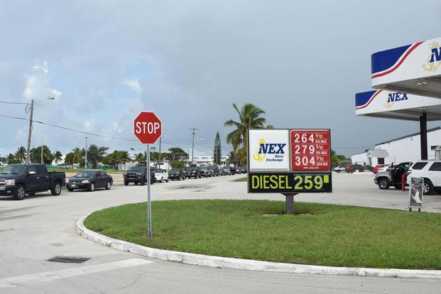 Sailors and civilians prepare for possible evacuation orders ahead of Hurricane Irma by filling up at Naval Air Station (NAS) Key West's Boca Chica Field Navy Exchange Gas Station. (U.S. Navy/Mass Communication Specialist 2nd Class Cody R. Babin)