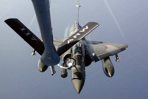 In this file photo a KC-135 Stratotanker refuels a French Mirage 2000. The U.S. has begun aerial refueling of French jets engaged in operations in Mali. Air Force photo