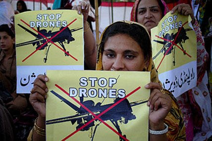Pakistanis protest against the use of U.S. drones in their country.