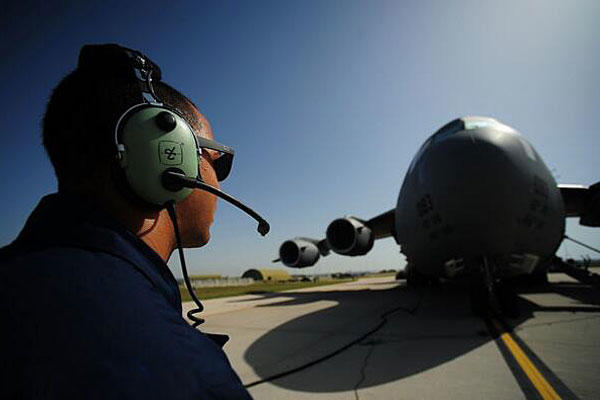 Senior Airman German Rubio-Arroyo, 39th Maintenance Squadron aerospace ground equipment journeyman, refuels a C-17 Globemaster cargo aircraft during a wing exercise June 27, 2014, at Incirlik Air Base, Turkey. Nicole Sikorski/Air Force