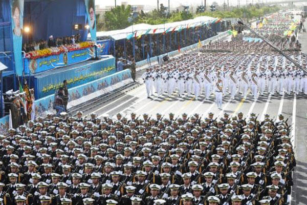 Iranian navy troops march in a parade marking National Army Day in front of the mausoleum of the late revolutionary founder Ayatollah Khomeini, just outside Tehran, Iran, Saturday, April 18, 2015 (AP Photo/Ebrahim Noroozi)