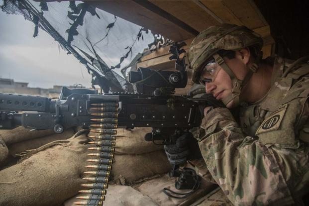 A cavalry scout assigned to the 1st Squadron, 73rd Cavalry Regiment, 2nd Brigade Combat Team, 82nd Airborne Division, scans his sector during his guard shift near Makhmour, Iraq on Jan. 27, 2017. (US Army/Spc. Ian Ryan)