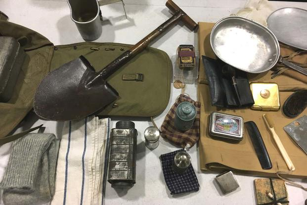 An assortment of soldier kit on display at the Pentagon following a ceremony to commemorate the 100th anniversary of the U.S. military entering WWI. .(Matt Cox/Military.com)