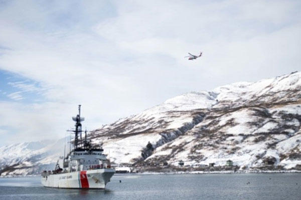 The crew of the Coast Guard Cutter Alex Haley makes its way to homeport in Kodiak, Alaska, Feb. 8, 2015. The crew has been underway for 70 days patrolling the Bering Sea. (U.S. Coast Guard photo by Petty Officer 2nd Class Diana Honings)