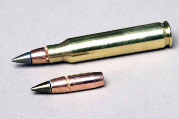 The U.S. Army's M855A1 5.56mm round, inside and outside of its casing. The Army adopted the M855A1 in 2010 to replace the Cold-War era M855 round. (Army)