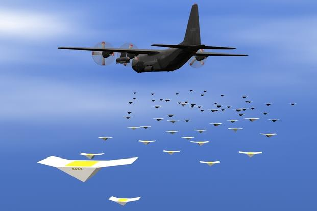 TheNavy shows an artistic depiction of a drone swarm launched from a cargo aircraft. (Source: U.S. Navy)