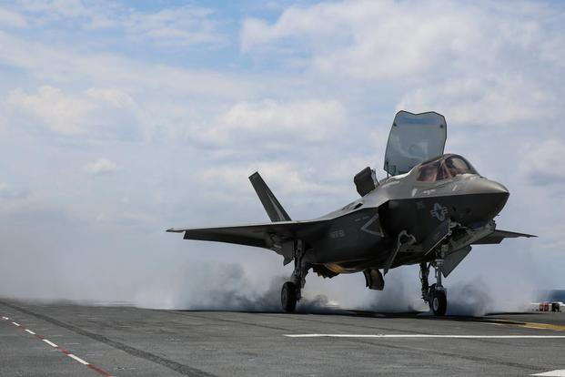 An F-35B Lightning II takes off on the flight deck of USS Wasp (LHD-1) during routine daylight operations, a part of Operational Testing 1, May 22. (Marine Photo)