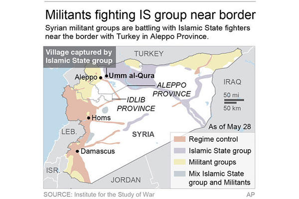 Map shows areas of control in Syria (AP)
