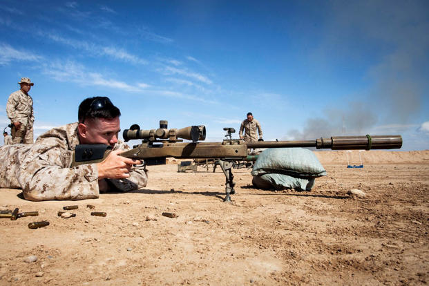 A Marine trains with an M40A5 Sniper Rifle. (Marine photo)