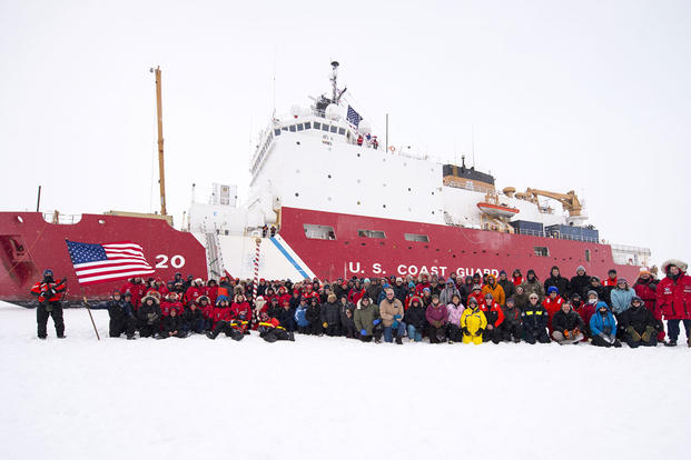 The crew of U.S. Coast Guard Cutter Healy and the Geotraces science team have their portrait taken at the North Pole Sept. 7, 2015. Healy reached the pole on Sept. 5. (U.S. Coast Guard photo by Petty Officer 2nd Class Cory J. Mendenhall)