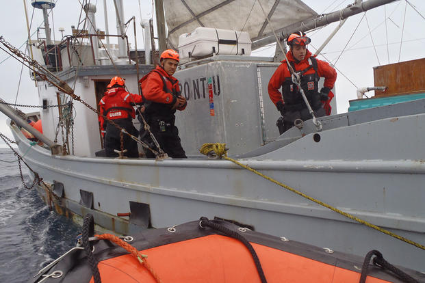 A boarding team from Coast Guard Cutter Midgett, a 378-foot High Endurance Cutter homeported in Seattle, inspects the fishing vessel Bambi during a patrol off the coasts of Washington and Oregon, Oct. 18, 2015. Photo courtesy of Coast Guard Cutter Midget