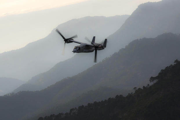 An MV-22B Osprey with Special-Purpose Marine Air-Ground Task Force Crisis Response-Africa carves through mountain terrain during a tactical recovery of aircraft and personnel exercise, Dec. 7, 2015 near Albacete, Spain. Photo: Staff Sgt. Vitaliy Rusavskiy
