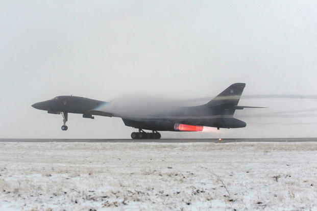 A B-1B Lancer takes off from Ellsworth Air Force Base, S.D., March 27, 2011, on a mission in support of Operation Odyssey Dawn. (Photo: Staff Sgt. Marc I. Lane)