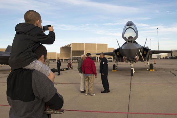 Members of the first ever F-35 Lightning II heritage flight team from Luke Air Force Base, Ariz., participate in the Heritage Flight Conference at Davis-Monthan Air Force Base, Ariz., March 4-6, 2016. (U.S. Air Force photo/Staff Sgt. Staci Miller)