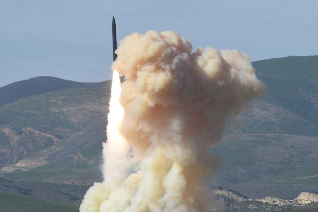 This photo taken Jan. 28, 2016, shows a long-range ground-based interceptor is launched from Vandenberg Air Force Base, Calif. (Defense Department's Missile Defense Agency via AP)