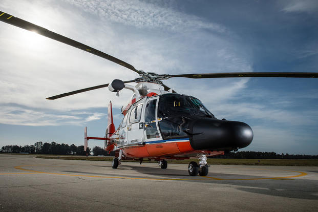 Coast Guard MH-60 Jayhawk helicopters stand ready at Air Station Elizabeth City Wednesday, March 10, 2016. (Photo: Auxiliarist David Lau)