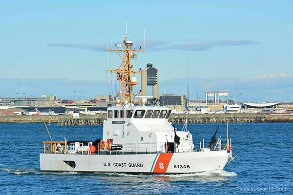 The Coast Guard Cutter Flying Fish patrols Boston Harbor. Flying Fish is an 87-foot Coastal Patrol Boat homeported in Boston used for coastal security, to enforce fisheries regulations, and conduct search and rescue. (Photo by Sean McGrath)