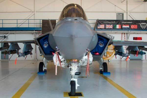 An F-35A from the 58th Fighter Squadron is loaded with weapons in its internal weapons bays and on external pylons July 20, 2016, at Eglin Air Force Base, Fla. (Photo by Stormy Archer/U.S. Air Force)
