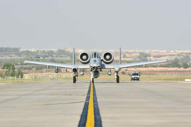 An A-10C Thunderbolt II attack aircraft taxis on the flight line after landing at Incirlik Air Base, Turkey, Oct. 15, 2015. (U.S. Air Force photo by Airman 1st Class Cory W. Bush/Released)