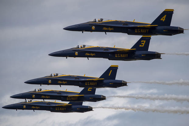 The U.S. Navy's Blue Angels perform precision formation flying and aerobatics during the Arctic Thunder Open House, July 30, 2016 at Joint Base Elmendorf-Richardson. (U.S. Air Force photo by Senior Airman James Richardson)