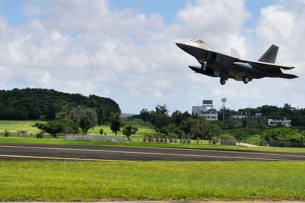 F-22A Raptors from the 1st Fighter Wing, Joint Base Langley-Eustis, Va., deployed to Kadena Air Base, Japan, on July 28, 2012. (U.S. Air Force photo/Staff Sgt. Darnell T. Cannady)