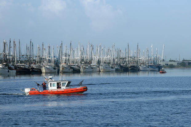 Maritime Safety and Security Team Galveston, Texas, patrols the Brownsville Ship Channel as approximately 120 Mexican shrimp boats seek safe harbor in the port from Hurricane Dean Aug. 23, 2007. (U.S. Coast Guard photo/Andrew Kendrick)