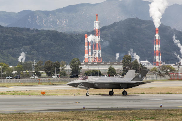 A U.S. Marine Corps F-35B Lightning II aircraft with Marine Fighter Attack Squadron (VMFA) 121 prepares for take-off at Marine Corps Air Station Iwakuni, Japan, April 18, 2017. (U.S. Marine Corps photo/Pfc. Mason Roy)