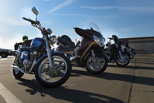 A row of motorcycles sits outside Hoban Hall at Barksdale Air Force Base, La., April 7, 2017. (U.S. Air Force photo/Airman 1st Class Stuart Bright)