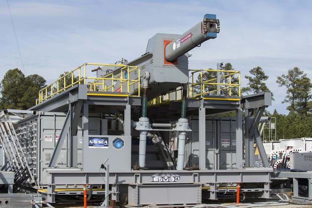 The Office of Naval Research (ONR)-sponsored Electromagnetic Railgun (EMRG) at terminal range located at Naval Surface Warfare Center Dahlgren Division (NSWCDD). (U.S. Navy/John F. Williams)