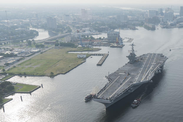 The aircraft carrier USS Harry S. Truman (CVN 75) transits the Elizabeth River from Norfolk Naval Shipyard to conduct Sea Trials following a 10-month planned incremental availability, July 21, 2017. (U.S. Navy photo/Kevin F. Johnson)