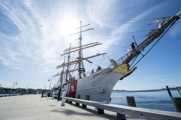 U.S. Coast Guard Cutter Barque Eagle arrives in New London May 4, 2017. (U.S. Coast Guard photo/Petty Officer 3rd Class Nicole Barger)