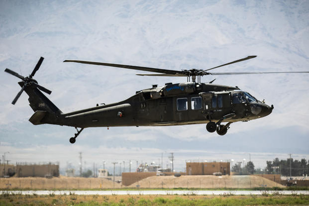 U.S. Army UH-60 Black Hawk helicopter pilots assigned to Task Force Flying Dragons, 16th Combat Aviation Brigade, 7th Infantry Division land at Bagram Airfield, Afghanistan, June 9, 2017. (U.S. Army photo/Capt. Brian Harris)