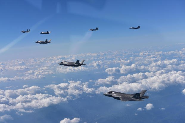 U.S. Marine Corps' F-35B Lightning II fighters are joined by Republic of Korea Air Force F-15K fighters during a mission from Andersen Air Force Base, into Japanese airspace and over the Korean Peninsula, August 30, 2017. (Republic of Korea Air Force)