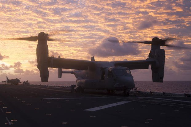 An MV-22B Osprey tiltrotor aircraft sits on the flight deck of the USS Bonhomme Richard (LHD 6) during Exercise Talisman Saber 17 while underway in the Pacific Ocean, June 10, 2017. (U.S. Marine Corps photo/Lance Cpl. Amy Phan)