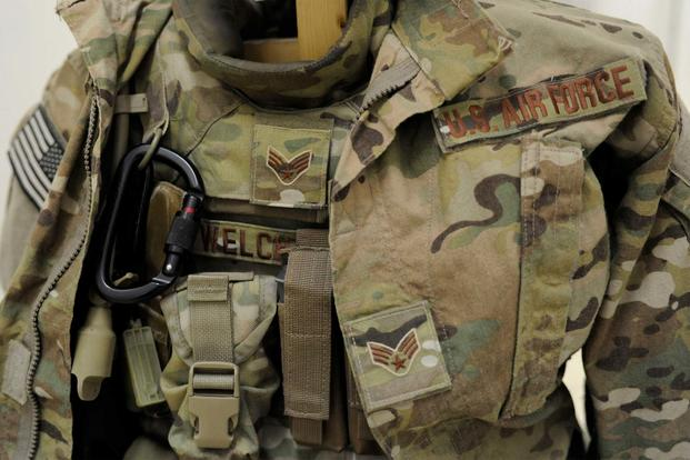 "The Operation Enduring Freedom Camouflage Pattern, or OCP, uniform, also known as the ""multi-cam,"" is the Air Force-designated uniform for Airmen performing ""outside the wire"" missions. (U.S. Air Force/Senior Airman Sandra Welch)"
