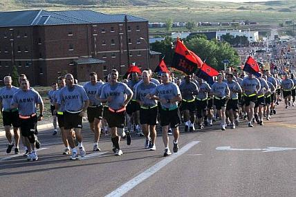 Fort Carson soldiers run during Iron Horse Week