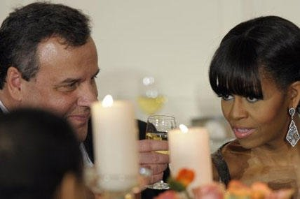 New Jersey Gov. Chris Christie shares a toast with first lady Michelle Obama as President Barack Obama welcomed the governors of the National Governors Association to the 2013 Governors' Dinner.