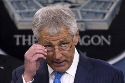 New Defense Secretary Chuck Hagel speaks during a news conference regarding the automatic spending cuts, Friday, March 1, 2013.