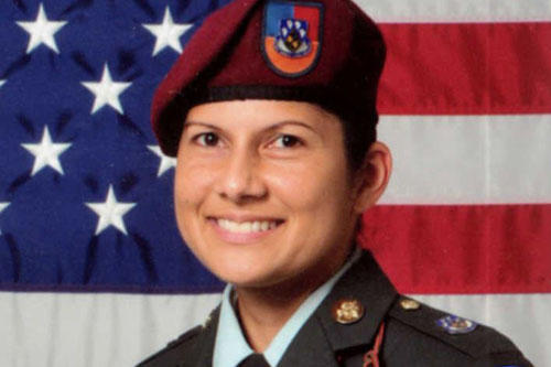 This undated U.S. Army photo shows Sgt. 1st Class Naida Hosan, who legally changed her name to Naida Christian Nova last year. The Catholic soldier says her Muslim-sounding name made her a target for harassment by her fellow soldiers.