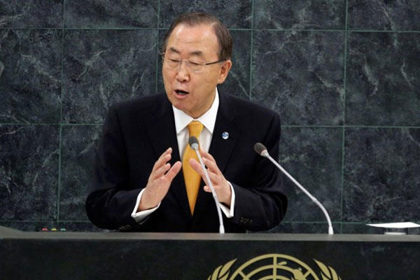 U.N. Secretary General Ban Ki-moon addresses the 68th session of the United Nations General Assembly, at U.N. headquarters in New York, Tuesday, Sept. 24, 2013.