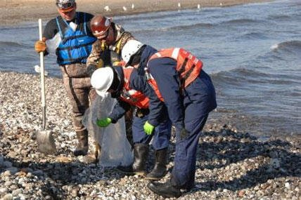 A shoreline assessment team made up of representatives from the Coast Guard, the Environmental Protection Agency and BP takes samples during their survey near the BP Whiting Refinery in Whiting, Ind., March 30, 2014.