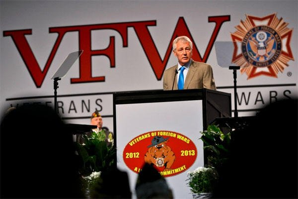 Secretary of Defense Chuck Hagel delivers remarks to attendees of the Veterans of Foreign War National Convention., July 22, 2013. (Glenn Fawcett/Department of Defense)