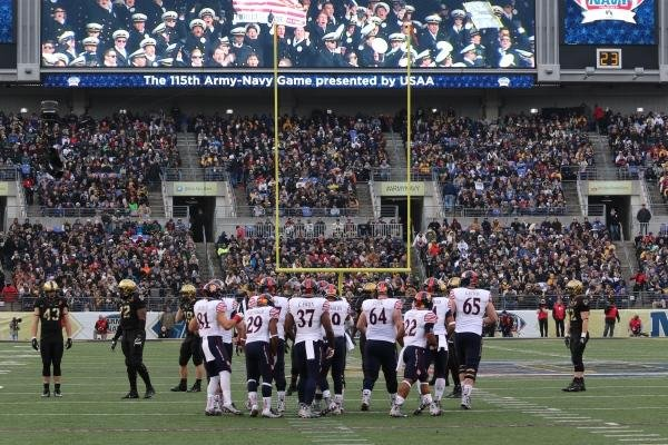 Navy lines up in the first half of the Army-Navy Game. (Military.com/Steve Whitman)
