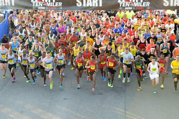 Runners take off during the Army Ten-Miler celebrating the race's 30th anniversary at the Pentagon, Oct. 12, 2014. (U.S. Army photo)