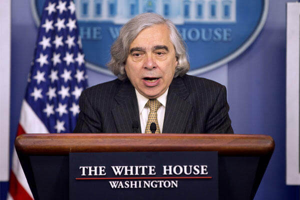 Energy Secretary Dr. Ernest Moniz speaks to the media during the daily briefing in the Brady Press Briefing Room of the White House in Washington, Monday, April 6, 2015. (AP Photo/Pablo Martinez Monsivais)