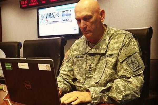 Army Chief of Staff Gen. Ray Odierno took to Facebook to answer questions from the social media public regarding new and existing Army policy, June 24, 2015. (U.S. Army photo)