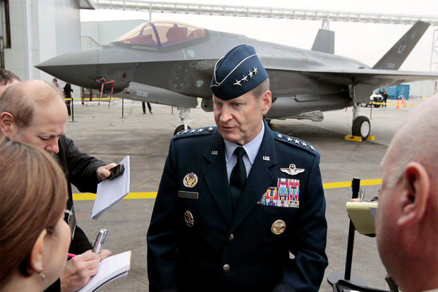 In this Dec. 13, 2013 file photo, Gen. Robin Rand, of Randolph Air Force Base, talks with the media in Fort Worth, Texas. (Ron T. Ennis/The Fort Worth Star-Telegram via AP, File)