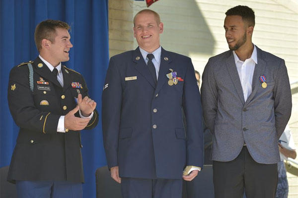 Air Force Specialist Alek Skarlatos, Airman 1st Class Spencer Stone and Anthony Sadler at a ceremony honoring them for stopping a gunman on a Paris-bound train, at the Pentagon, Sept. 17, 2015,. (DoD Photo by Glenn Fawcett)
